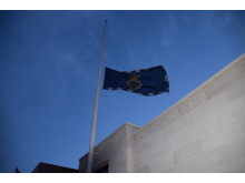 The flag at New Scotland Yard flown at half mast following today's events in Westminster