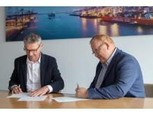 Daniel Lievens (NxtPort) en Rob Harrison (DP World Antwerp)