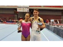 Marcela Torres och Michael Trane. Svenska mästare i kvinnlig och manlig artistisk gymnastik 2016.