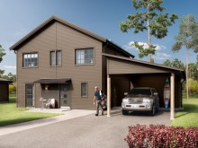 Kv Hällmarken - 3D-bild av de fristående 2-planshusen i etapp 2