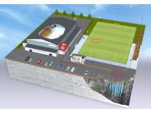 Idrottsanläggning med uppvärmd konstgräsplan