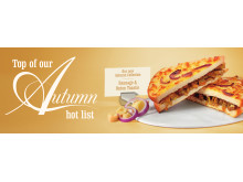 Autumn Collection Menu 2013 - British Cumberland Sausage with a Caramelised Red Onion Cheese Topped Toastie