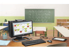 HP ProDesk 600 SFF with IWC stand and ProDisplay 202 with accessories in classroom showing Classroom Manager on screen