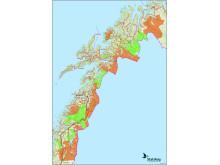 Oversikt over jaktfelt som er åpen for jakt i Nordland og Troms