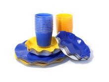 Engångsartiklar till fest, blå och gula