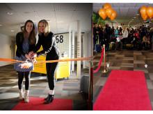 Passageraren Chloé Chêne och Elizabeth Axtelius, direktör för Avaiton Business på Swedavia