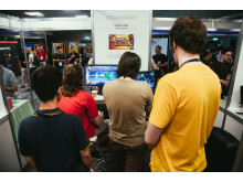 Attendees playing Skybolt Zack at the Develop:Brighton expo