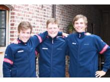 Halvorsen, Skaarseth og Grøndahl Jansen før Flandern U23 Flandern 2016