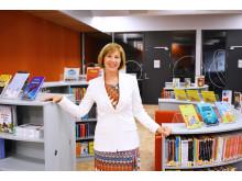 Rigmor Hansen, Adm. dir i Undervisningsbygg i skolens flotte bibliotek