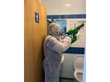 Electrostatic spray guns apply long-lasting viruscide