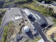 Flygbild Äland över biogasanläggningen i Äland