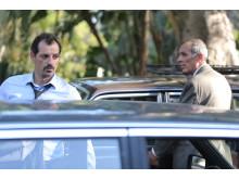 Adel Karam och Kamel El Basha i Ziad Doueiris Oscarsnominerade drama Förolämpningen.