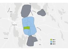 Växjöbostäders zonindelning för parkeringsplatser