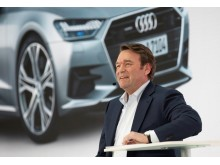 Bram Schot, Chairman of the Board of Management of AUDI AG, during his speech at the Annual Press Conference 2019