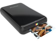 Polaroid ZIP printer, svart med utskrift på väg