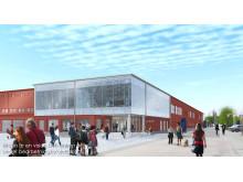 Skiss nya entrén A-huset, Luleå