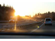 Låg och bländande sol. Foto: Marit Thorin/Bilprovningen