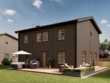 Kv Hällmarken - 3D-bild av de fristående 2-planshusen i etapp 1