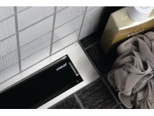 Golvränna / Duschränna - unidrain® HighLine Panel - Svart glas