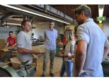 Takeda Azubis spenden 750€ / Führung in Werkstätte St. Pirmin (Schreinerei) in Singen