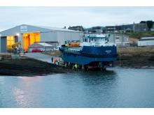 Dredger Selkie getting her bottom wet inBuckie Harbour