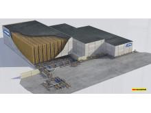 3D layout af JYSKs kommende højlager i Nässjö