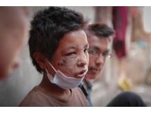 Parvin wurde bei dem Beben in Nepal durch Trümmer verletzt und wurde befreit. Zishaan Akbar Latif