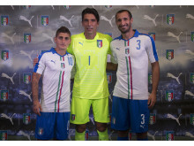Marco Verratti, Gianluigi Buffon & Giorgio Chiellini at the FIGC & PUMA Away kit launch