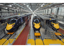 Hitachi Class 395 trains in Hitachi's Ashford Train Maintenance Centre