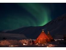 Nordlicht über Longyearbyen, Spitzbergen