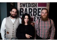 Amin Iranmanesh, Randevu Barbershop, Göteborg med modell och domare Cari Forsgren