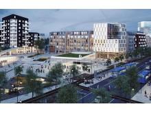 Tunnelbanetorget, Barkarbystaden, Järfälla. Visionsbild 2025.