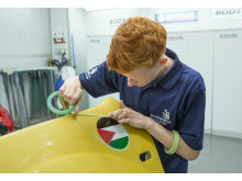 Daryl Head prepares in the Thatcham Research Academy for the exacting challenges which lay ahead at World Skills