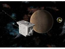 Den europeiska satelliten MPO och den japanska satelliten Mio. Foto: ESA