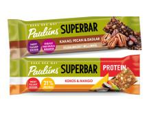 Pauluns superbar i smaken Kakao, Pecan & Dadlar samt Pauluns superbars protein i smaken Kokos&Mango