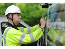 Openreach engineer at work in Derbyshire