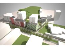 Visionsbild förtätning i Diligentias bostadsbestånd i Jakobsberg