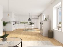 Brf Längtan - 3D-bild av kök/matrum/vardagsrum