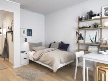 Illustration av interiör, sovdel, BoKlok-lägenhet 1 rok, 2019