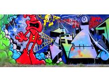 """Graffiti-bild av Daniel """"Ikaroz"""" Diaz"""