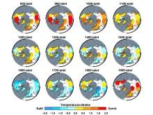 Temperaturavvikelser norra halvklotet de senaste 12 århundradena