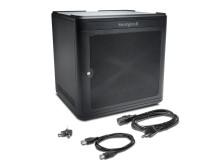 Kensington Secure Charge & Sync Cabinet sikres ved fastgørelse til bord eller hylde med et integreret sikringsbeslag eller med en kabellås.