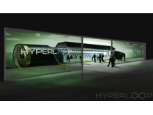 Passagerare kliver ombord Hyperloop One.