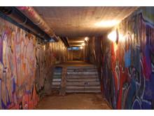 Vandalbelysning i gångtunnel i Sundsvall