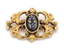 Klassiska 22/12, Nr.221, BROSCH, 18K guld, onyx, paste, Sverige 1848
