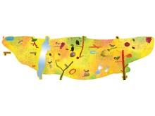 Skiss, konstverk till entrévägg på Barnarp förskola