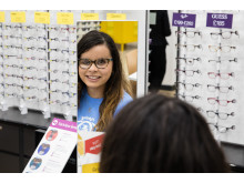 Wembley local shares battle with rare childhood cancer at opening of new optician