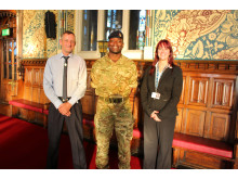 Armed Forces lead Councillor Alan McCarthy, Major Twumasi-Ankrah, known as T-A, of the Household Cavalry, and acting chief executive Linda Fisher