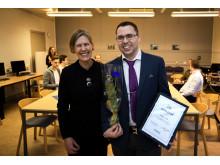 Karin Lindskog, Glasbranschföreningen och Daniel Lidén, årets stipendiat.