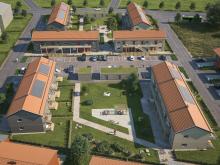 Översiktillustration av de kommande lägenheterna (BoKlok Pysslingen) på Telestadshöjden i Växjö.